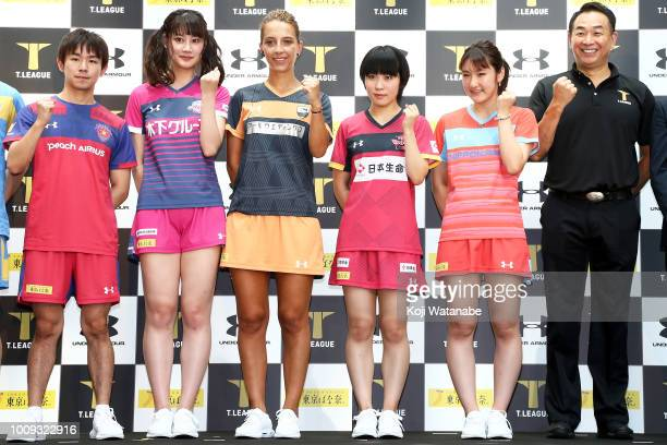 Yui Hamamoto; Samara Elizabeta and Miu Hirano and Miyu Kato TLeague player attends the new table tennis league 'T.League' press conference on August...