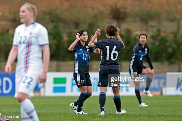 Yui Hasegawa and Mina Tanaka of Japan Women celebrating their goal during the match between Japan v Iceland Women's Algarve Cup on March 3 2017 in...