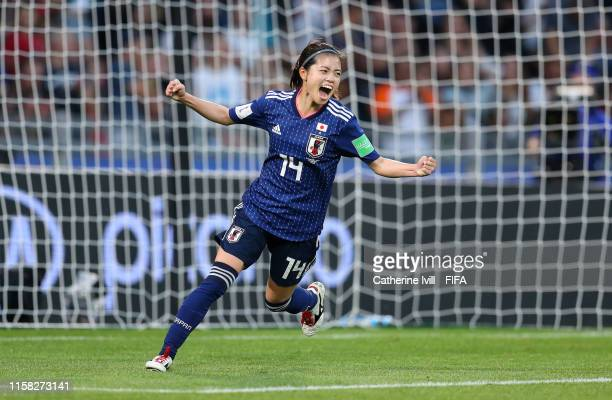 Yui Hasegawa of Japan celebrates after scoring her team's first goal during the 2019 FIFA Women's World Cup France Round Of 16 match between...