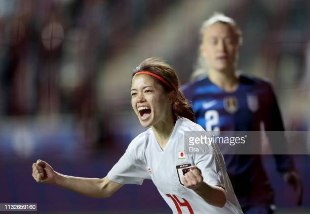 Yui Hasegawa of Japan celebrates teammate Yuka Momiki's goal in the second half against the United States at Talen Energy Stadium on February 27 2019...