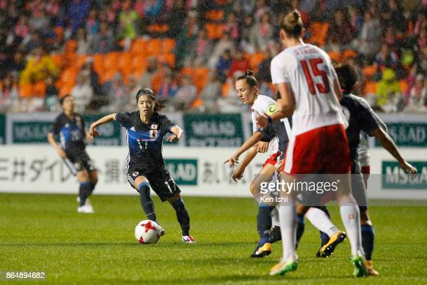 Yui Hasegawa of Japan in action during the international friendly match between Japan and Switzerland at Nagano U Stadium on October 22 2017 in...