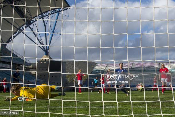 Yui Hasegawa of Japan in action during the Women's Algarve Cup Tournament match between Denmark and Japan at Algarve stadium on March 5 2018 in Faro...