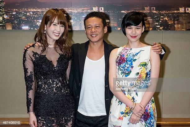 Yui Hatano Lee Kang Sheng and Teresa Daley attend the Action Taipei Press Conference during the 39th Hong Kong International Film Festival at Hong...