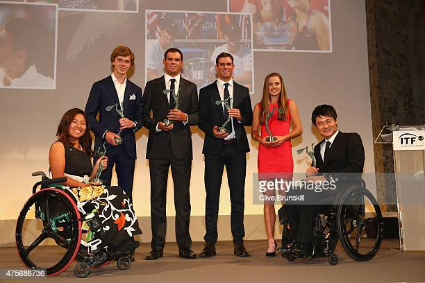 Yui Kamiji of Japan Andrey Rublev of Russia Mike Bryan of the United States Bob Bryan of the United States Catherine Bellis of the United States and...