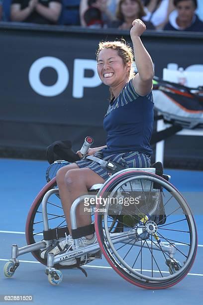 Yui Kamiji of Japan celebrates winning the Women's Wheelchair Singles Final during the Australian Open 2017 Wheelchair Championships at Melbourne...