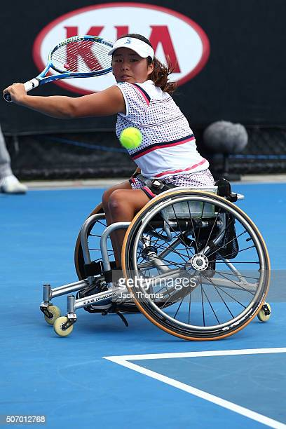 Yui Kamiji of Japan competes in her first round match against Sabine Ellerbrock of Germany during the Australian Open 2016 Wheelchair Championships...