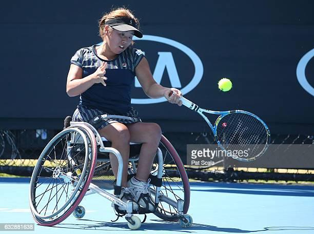 Yui Kamiji of Japan competes in the Women's Wheelchair Singles Final against Jiske Griffioen of the Netherlands during the Australian Open 2017...