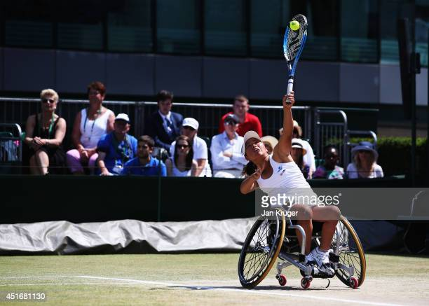 Yui Kamiji of Japan during her Ladies' Wheelchair Doubles match with Jordanne Whiley of Great Britain against Katharina Kruger of Germany and Sharon...