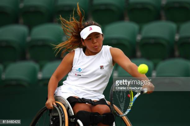 Yui Kamiji of Japan in action during her Ladies' Wheelchair doubles final against Marjolein Buis and Diede De Groot of Holland on day thirteen of the...