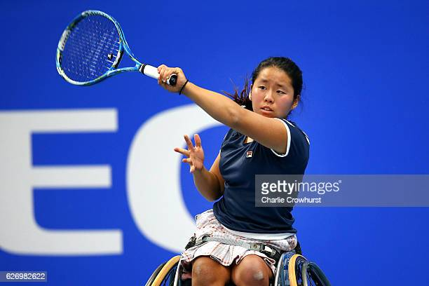 Yui Kamiji of Japan in action during her round robin singles match against Jiske Griffioen of Netherlands on Day 2 of NEC Wheelchair Tennis Masters...