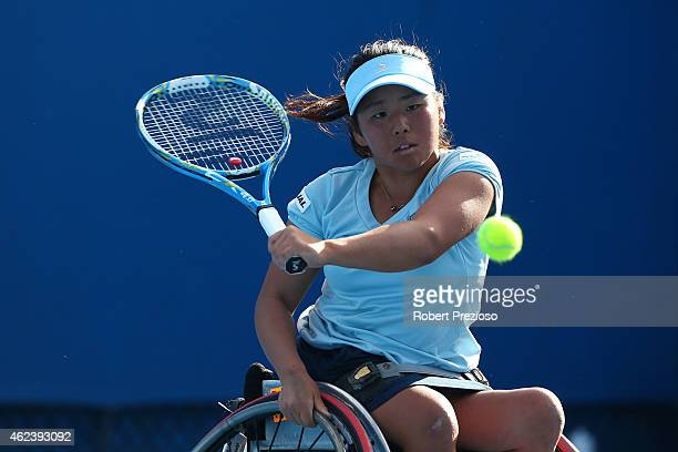 Yui Kamiji of Japan in action in her match against Sharon Walraven of the Netherlands in the Women's Wheelchair Singles Quarterfinals during the...