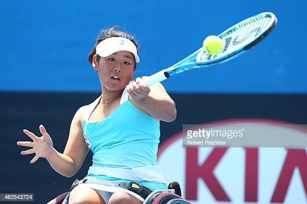 Yui Kamiji of Japan in action in her Women's Wheelchair Singles Final against Jiske Griffioen of the Netherlands during the Australian Open 2015...