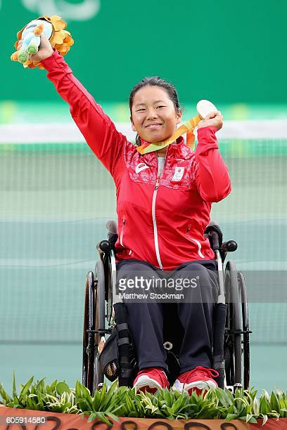 Yui Kamiji of Japan is presented the bronze medal in the women's singles at the Olympic Tennis Center during day 8 of the Rio 2016 Paralympic Games...