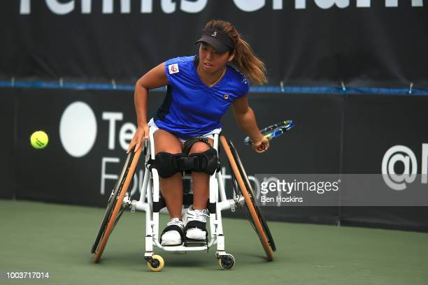 Yui Kamiji of Japan plays a forehand during the women's singles final against Diede de Groot of The Netherlands on day six of The British Open...