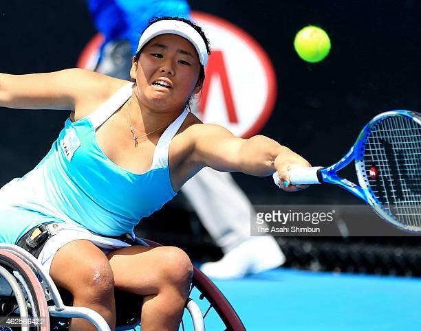 Yui Kamiji of Japan plays a forehand in her Women's Wheelchair Singles Final against Jiske Griffioen of the Netherlands during the Australian Open...