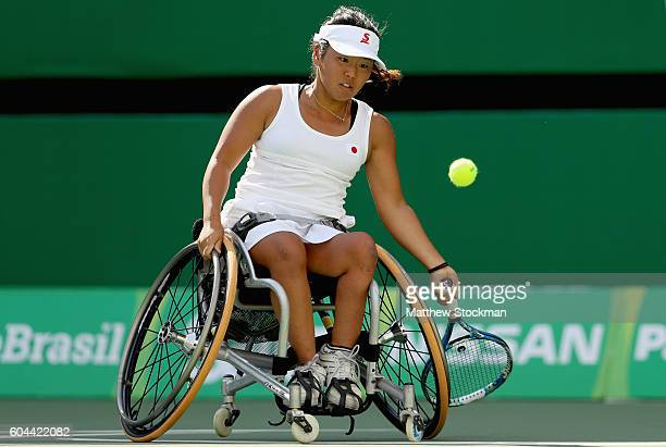 Yui Kamiji of Japan plays Anieka van Koot of the Netherlands at the Olympic Tennis Center during day 6 of the Rio 2016 Paralympic Games on September...