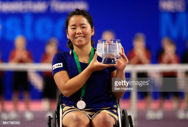 Yui Kamiji of Japan poses with her runner up trophy following the womens final against Diede De Groot of The Netherlands on day five of The NEC...