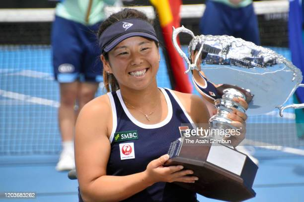 Yui Kamiji of Japan poses with the trophy after her victory in the Women's Wheelchair Singles Final against against Aniek Van Koot of the Netherlands...
