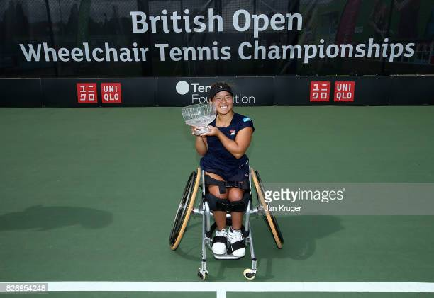 Yui Kamiji of Japan poses with the women's singles trophy during the British Open Wheelchair Tennis at The Nottingham Tennis Centre on August 6 2017...