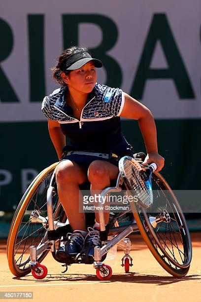 Yui Kamiji of Japan returns a shot during her women's wheelchair singles final match against Aniek Vanuatu Koot of Netherlands on day thirteen of the...