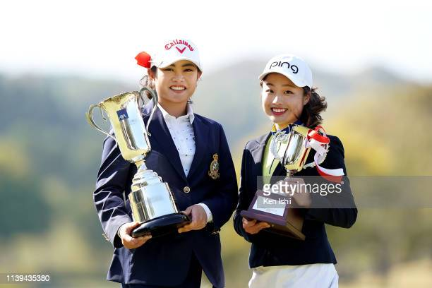 Yui Kawamoto and Kiri Onitsuka of Japan pose for photos after the AXA Ladies Golf Tournament at the UMK Country Club on March 31 2019 in Miyazaki...