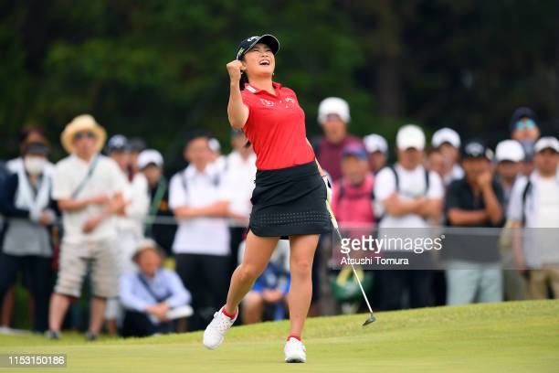 Yui Kawamoto of Japan celebrates her eagle on the 8th green during the final round of the Resorttrust Ladies at Grandi Hamanako Golf Club on June 2...