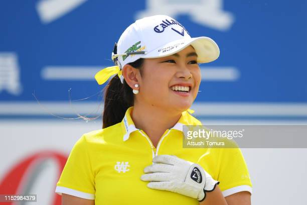 Yui Kawamoto of Japan hits a tee shot on the 15th hole during the second round of the Resorttrust Ladies at Grandi Hamanako Golf Club on June 1 2019...