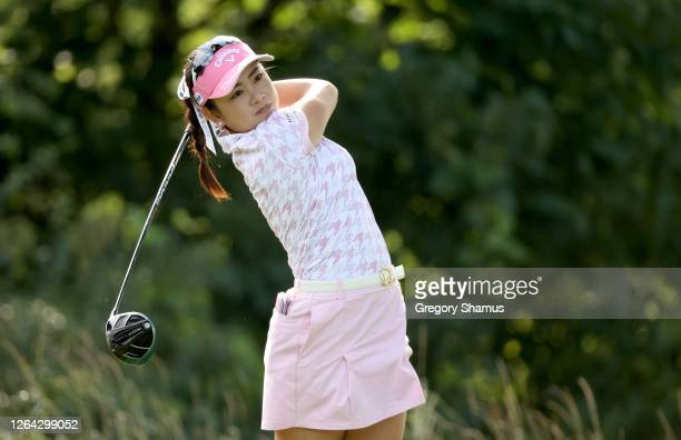 Yui Kawamoto of Japan hits a tee shot on the ninth hole during the first round of the Marathon LPGA Classic at Highland Meadows Golf Club on August...