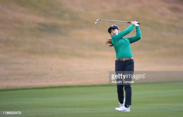 Yui Kawamoto of Japan hits her second shot on the 10th hole during the first round of the Daio Paper Elleair Ladies at Elleair Golf Club Matsuyama on...