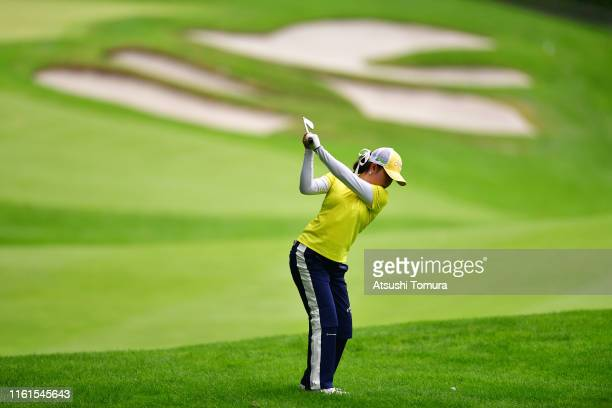 Yui Kawamoto of Japan hits her second shot on the 18th hole during the second round of the Nippon Ham Ladies Classic at Katsura Golf Club on July 12...