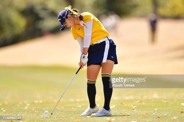 Yui Kawamoto of Japan hits her second shot on the 1st hole during the second round of the Yamaha Ladies Open Katsuragi at Ktsuragi Golf Club Yamana...