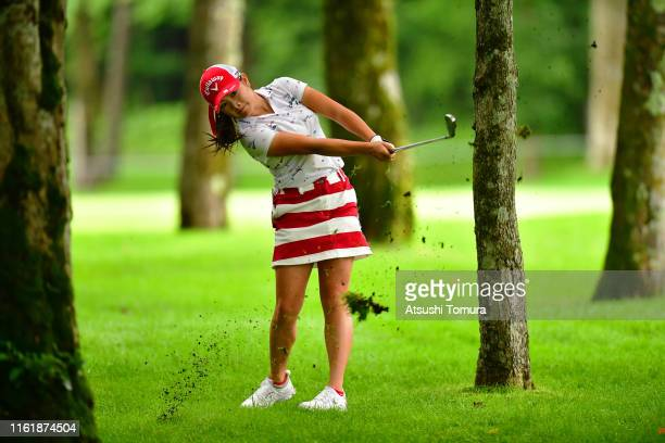 Yui Kawamoto of Japan hits her second shot on the 7th hole during the final round of the Nippon Ham Ladies Classic at Katsura Golf Club on July 14...