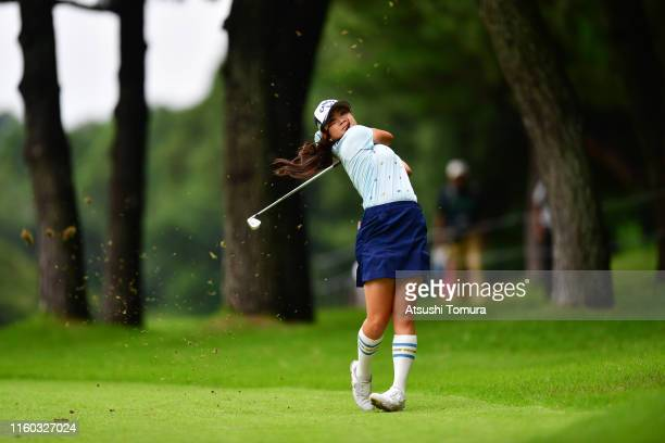 Yui Kawamoto of Japan hits her second shot on the 9th hole during the third round of the Shiseido Anessa Ladies Open at Totsuka Country Club on July...