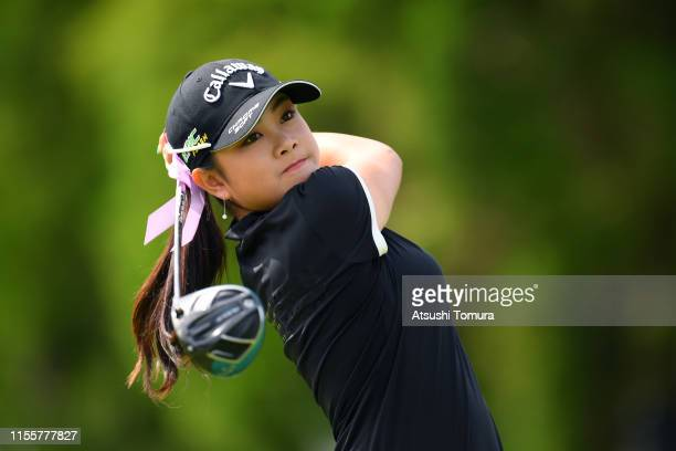 Yui Kawamoto of Japan hits her tee shot on the 13th hole during the second round of the Ai Miyazato Suntory Ladies Open Golf Tournament at Rokko...