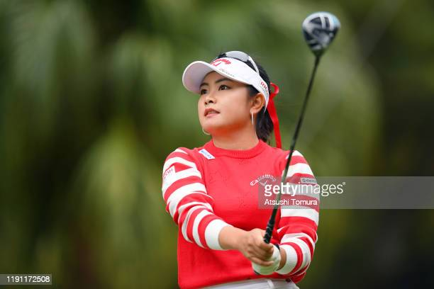 Yui Kawamoto of Japan hits her tee shot on the 14th hole during the final round of the LPGA Tour Championship Ricoh Cup at Miyazaki Country Club on...