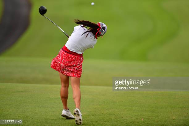 Yui Kawamoto of Japan hits her tee shot on the 5th hole during the final round of the Miyagi TV Cup Dunlop Women's Open at Rufu Golf Club on...