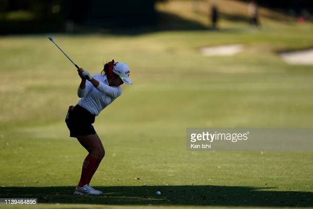 Yui Kawamoto of Japan hits her third shot on the seventeenth hole during the final round of the AXA Ladies Golf Tournament at the UMK Country Club on...