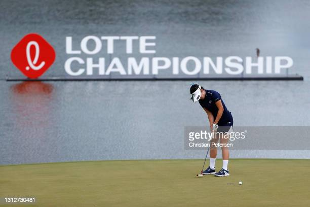 Yui Kawamoto of Japan lines up a putt on the 11th green during the second round of the LPGA LOTTE Championship at Kapolei Golf Club on April 15, 2021...