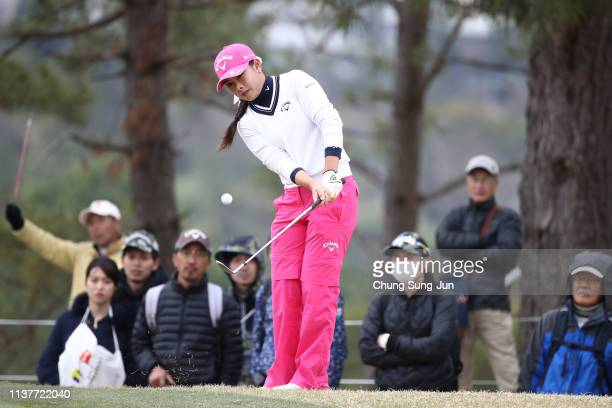 Yui Kawamoto of Japan plays a shot on the 9th hole during the second round of the TPoint x ENEOS Golf Tournament at Ibaraki Kokusai Golf Club on...