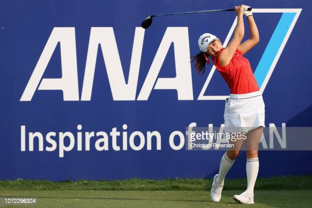 Yui Kawamoto of Japan plays a tee shot on the 10th hole during the final round of the ANA Inspiration on the Dinah Shore course at Mission Hills...