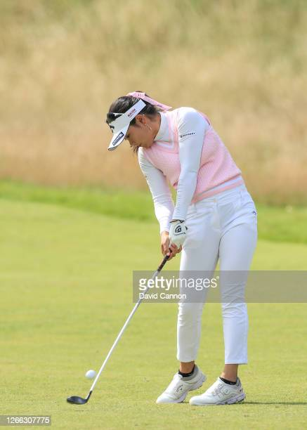 Yui Kawamoto of Japan plays her second shot on the 11th hole during the second round of the Aberdeen Standard Investments Ladies Scottish Open at The...