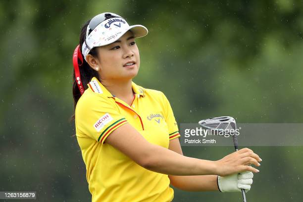 Yui Kawamoto of Japan plays her shot from the 16th tee during the second round of the LPGA Drive On Championship at Inverness Club on August 1 2020...