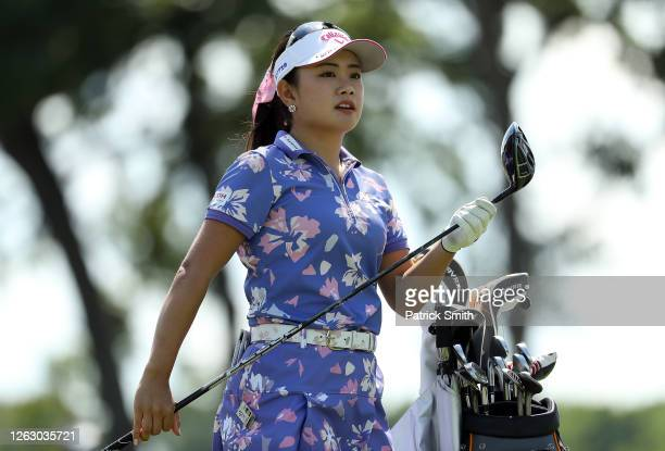 Yui Kawamoto of Japan plays her shot from the eighth tee during the first round of the LPGA Drive On Championship at Inverness Club on July 31 2020...