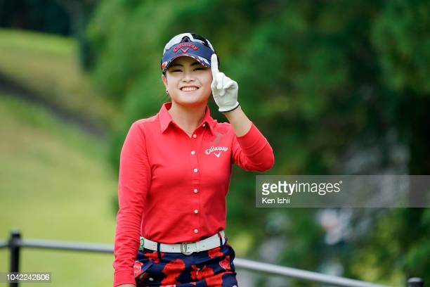 Yui Kawamoto of Japan pose for a photo on the 17th hole during the final round of the Fundokin Ladies at Usuki Country Club on September 28 2018 in...