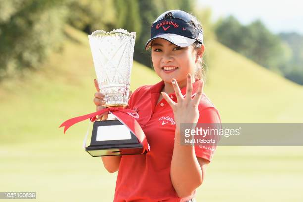 Yui Kawamoto of Japan poses during the trophy presentation of the Udonken Ladies at Mannou Hills Country Club on October 14 2018 in Mannou Kagawa...