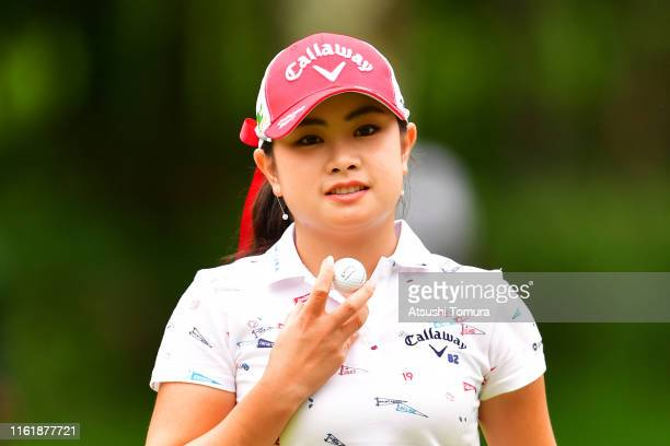 Yui Kawamoto of Japan poses on the 8th green during the final round of the Nippon Ham Ladies Classic at Katsura Golf Club on July 14 2019 in...