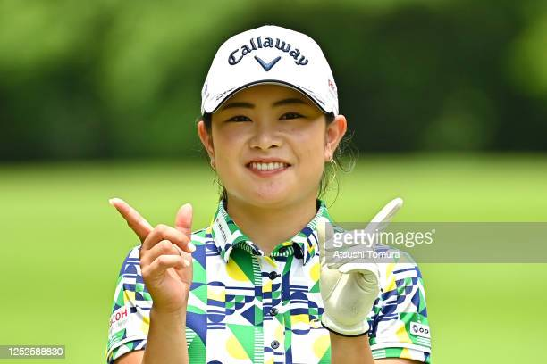 Yui Kawamoto of Japan poses on the 8th hole during the second round of the Earth Mondamin Cup at the Camellia Hills Country Club on June 26 2020 in...