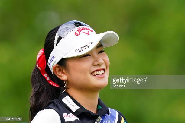Yui Kawamoto of Japan reacts after her tee shot on the 1st hole during the final round of the Earth Mondamin Cup at the Camellia Hills Country Club...