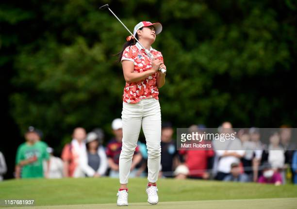 Yui Kawamoto of Japan reacts after missing a putt on the 5th green during the final round of the Nichirei Ladies at Sodegaura Country Club Shinsode...