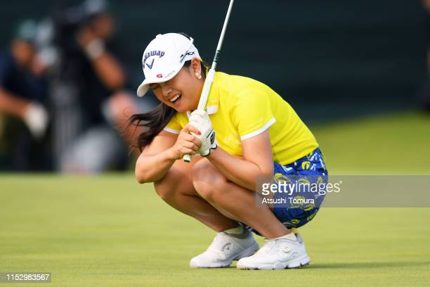 Yui Kawamoto of Japan reacts after missing the birdie putt on the 18th green during the second round of the Resorttrust Ladies at Grandi Hamanako...